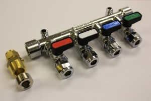Gas Manifold 8mm 4 Way