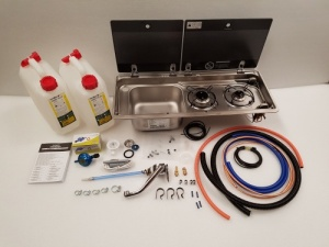 Smev 9722 KIT - 2 Burner Combination Unit with Glass Lids