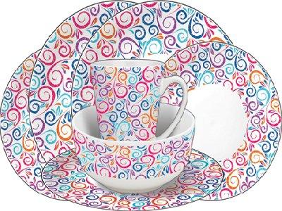 Leisurewize 16 Piece 100% Melamine Tableware Set - Swirl  sc 1 st  Rainbow Conversions & Leisurewize 16 Piece 100% Melamine Tableware Set - Swirl - Rainbow ...
