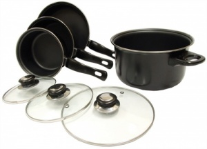 Leisurewize 7 Piece Lightweight Pan Saucepan Cook Set