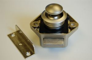 Mini Nickel Backed Push Button Door Catch Motorhomes