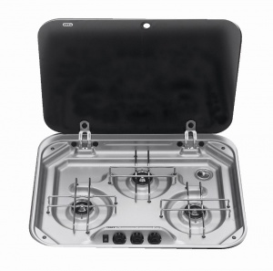 Smev 8023 - 3 Burner Hob with Glass Lid