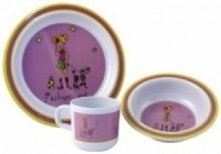 Fashion Girl 3 Piece Childrens Melamine Set