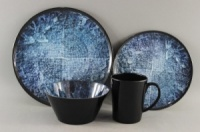 16 Piece Melamine Tableware Set - Blue Rock