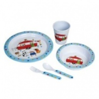 Flamefield Charlie and Friends Childrens 5 Piece Melamine Set