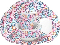 16 Piece Melamine Tableware Set - Swirl