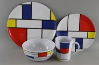 Leisurewize 16 Piece 100% Melamine Tableware Set - De Stijl
