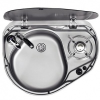 Smev 8821 - 1 Burner Hob And Sink Combination Unit with Glass Lid