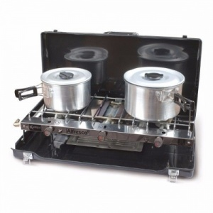 Kampa Alfresco Camping Double Burner Gas Hob and Grill Stove