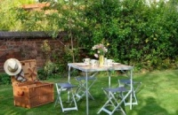 Sorrento Aluminium & Wood Effect Folding table & Stools